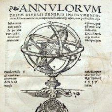 Libros de segunda mano: ANNULORUM TRIUM DIVERSI GENERIS INSTRUMENTORUM ASTRONOMICORUM COMPONENDI RATIO ATQUE USUS... - DRYAN. Lote 109022599