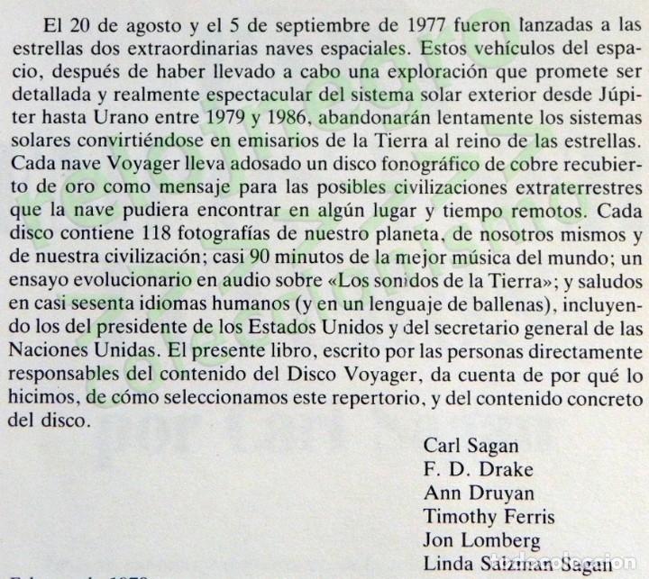 Libros de segunda mano: MURMULLOS DE LA TIERRA LIBRO CARL SAGAN - MENSAJE VOYAGER ESPACIO VIDA EXTRATERRESTRE CIENCIAS NAVES - Foto 2 - 115917135