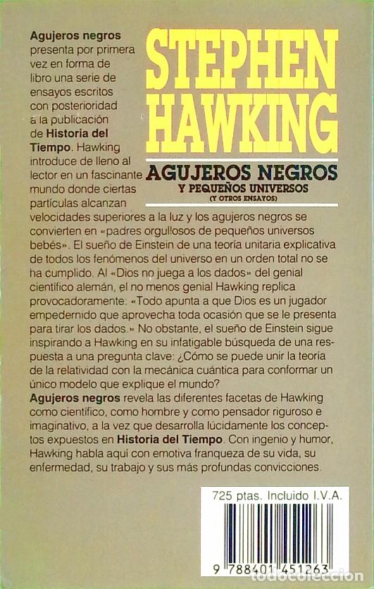Libros de segunda mano: Agujeros negros y pequeños universos - Stephen Hawking - Foto 2 - 141332862