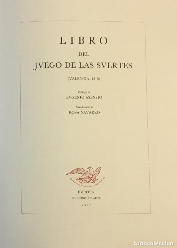 Libros de segunda mano: LIBRO DEL JUEGO DE LAS SUERTES (VALENCIA, 1515). - [Facsímil.] - Foto 2 - 123265666