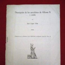 Libros de segunda mano: DESCRIPCION DE LOS ASTROLABIOS DE ALFONSO X Y ARABE POR JUAN LOPEZ SOLER. Lote 178356611