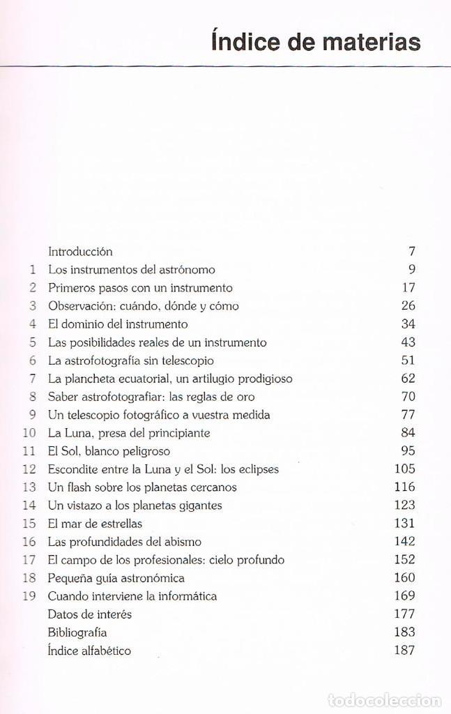Libros de segunda mano: Manual de observacion y fotografia astronomica (Jean Lacroux y Denis Berthier), ver indice - Foto 3 - 202877668