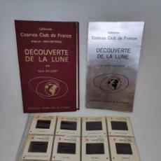 Libros de segunda mano: DESCUBRIMIENTO DE LA LUNA. LIBRO +36 DIAPOSITIVAS. COSMOS CLUB DE FRANCIA. FOTOGRAFIAS DE LA NASA. Lote 208895275