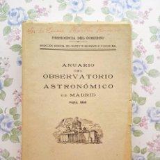 Libros de segunda mano: 1958 ANUARIO ASTRONÓMICO NACIONAL A - MADRID ASTRONOMÍA. Lote 225567073