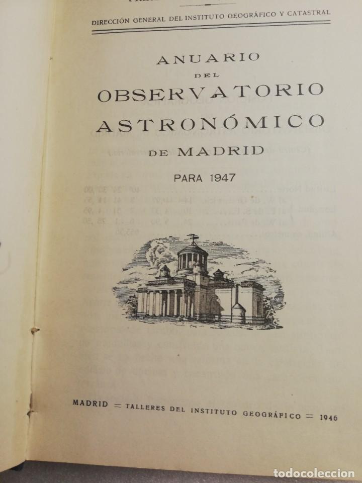 Libros de segunda mano: ANUARIO DEL OBSERVATORIO ASTRONÓMICO DE MADRID PARA 1947 - Foto 3 - 240356760