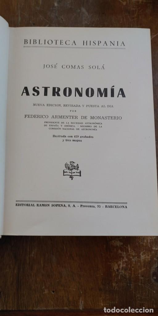ASTRONOMIA, POR JOSÉ COMAS SOLÁ - 1960, PYMY 99 (Libros de Segunda Mano - Ciencias, Manuales y Oficios - Astronomía)