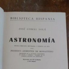 Libros de segunda mano: ASTRONOMIA, POR JOSÉ COMAS SOLÁ - 1960, PYMY 99. Lote 254256945