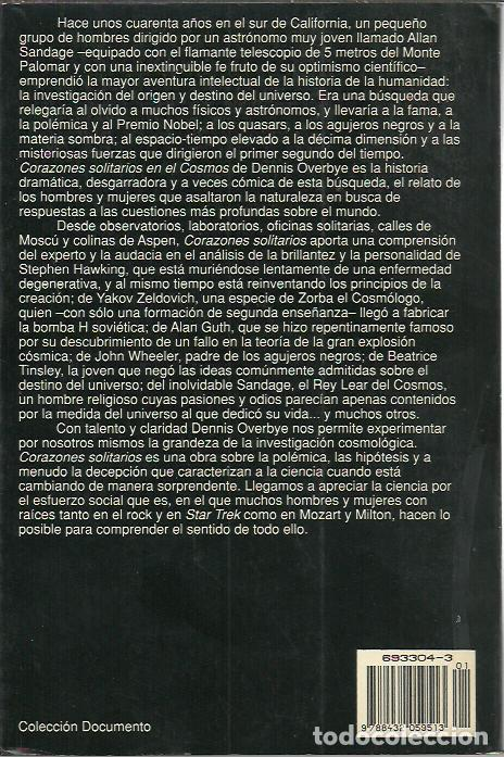 Libros de segunda mano: Dennis Overbye-Corazones solitarios en el cosmos.Documento,303.Planeta.1992. - Foto 2 - 265652164