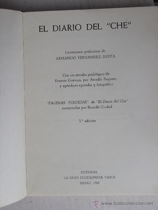 Libros de segunda mano: EL DIARIO DEL CHE, 1968, CON ALGUNAS FOTOGRAFÍAS EN BLANCO Y NEGRO. - Foto 3 - 27385165