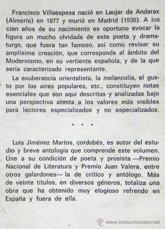 Libros de segunda mano: LIBRO - VILLAESPESA - BIOGRAFÍA ANTOLOGÍA POETA ANDALUZ - POESÍA MODERNISMO - FOTOS JIMÉNEZ MARTOS - Foto 2 - 27618245