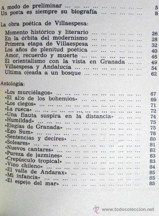 Libros de segunda mano: LIBRO - VILLAESPESA - BIOGRAFÍA ANTOLOGÍA POETA ANDALUZ - POESÍA MODERNISMO - FOTOS JIMÉNEZ MARTOS - Foto 4 - 27618245