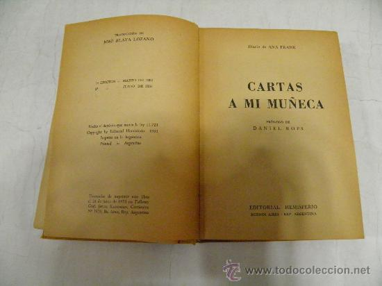 Libros de segunda mano: Cartas a mi muñeca. ANA FRANK Editorial Hemisferio, 1953 RM35010 - Foto 3 - 27942191