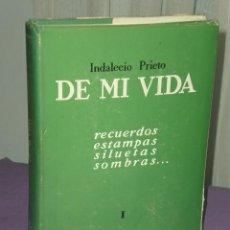 Libros de segunda mano: INDALECIO PRIETO.- DE MI VIDA. RECUERDOS, ESTAMPAS, SILUETAS, SOMBRAS...TOMO I. . Lote 31977602
