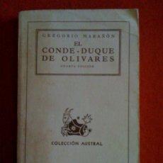 Libros de segunda mano: EL CONDE - DUQUE DE OLIVARES, DE GREGORIO MARAÑÓN. ESPASA CALPE (AUSTRAL 62), 1944. Lote 33359768