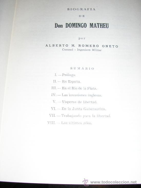 Libros de segunda mano: DOMINGO MATHEU, por A. Romero Oneto y O. H. Elia - Lotería de Beneficencia y Casinos - 1965 - Foto 3 - 37522576