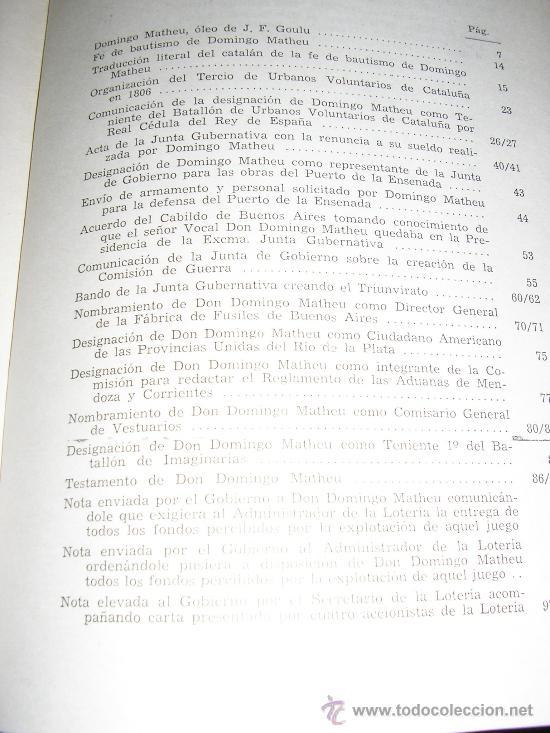 Libros de segunda mano: DOMINGO MATHEU, por A. Romero Oneto y O. H. Elia - Lotería de Beneficencia y Casinos - 1965 - Foto 5 - 37522576