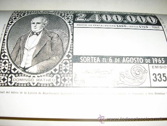 Libros de segunda mano: DOMINGO MATHEU, por A. Romero Oneto y O. H. Elia - Lotería de Beneficencia y Casinos - 1965 - Foto 6 - 37522576