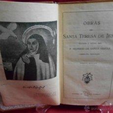Libros de segunda mano: LIBRO-OBRAS DE SANTA TERESA DE JESUS-ED EL MONTE CARMELO-1949-. Lote 42638595