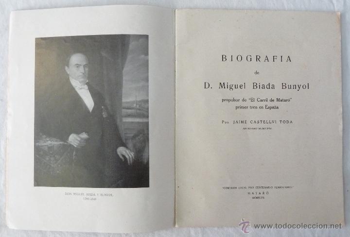 Libros de segunda mano: BIOGRAFIA DE D. MIGUEL BIADA BUNYOL - EL CARRIL DE MATARÓ / JAIME CASTELLVÍ TODA - 1947 - Foto 2 - 42985482