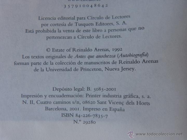 Libros de segunda mano: Libro Antes que anochezca, autor Reinaldo Arenas, Autobiografía, Círculo de Lectores, año 2001 - Foto 7 - 44877664