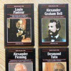 Libros de segunda mano: LOTE 4 GENTE DE AYER Y HOY ALEXANDER FLEMING GRAHAM BELL LOUIS PASTEUR DESMOND TUTU EDICIONES SM. Lote 47238940