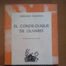 Libros de segunda mano: GREGORIO MARAÑÓN. EL CONDE-DUQUE DE OLIVARES. COLECCIÓN AUSTRAL. ESPASA-CALPE.. Lote 51493256