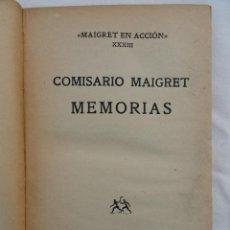 Libros de segunda mano: LIBRO MEMORIAS COMISARIO MAIGRET. AÑO 1952.. Lote 72699619