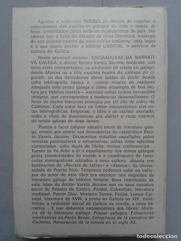 Libros de segunda mano: Singraduras da Narrativa Galega. De Castelao a Neira Vilas. Benito Varela Jácome. - Foto 6 - 88916116