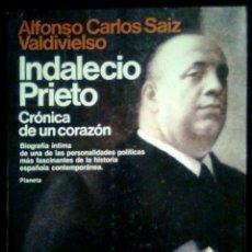 Libros de segunda mano: INDALECIO PRIETO - ALFONSO CARLOS SAIZ VALDIVIESO - SPAIN LIBRO PLANETA 1984. Lote 90513625