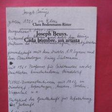 Libros de segunda mano: CADA HOMBRE UN ARTISTA JOSEPH BEUYS 1995 VISOR. Lote 97254891