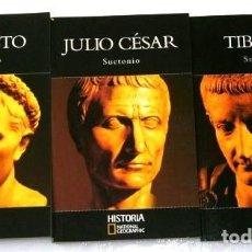 Libros de segunda mano: AUGUSTO / JULIO CÉSAR / TIBERIO 3T POR SUETONIO DE ED. RBA / NATIONAL GEOGRAPHIC EN BARCELONA 2004. Lote 121377188