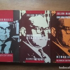 Libros de segunda mano: JULIAN MARIAS, UNA VIDA PRESENTE, MEMORIAS, ALIANZA EDITORIAL, 3 TOMOS. Lote 122267431