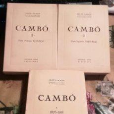 Libros de segunda mano: CAMBÓ - JESÚS PABÓN - 3 VOLÚMENES - 1952/1969. Lote 129096543