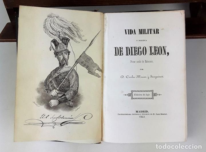 Libros de segunda mano: VIDA MILITAR Y POLÍTICA DE DIEGO LEON. C. MASSA. EST. JUAN MANINI. MADRID. 1843. - Foto 4 - 139548642