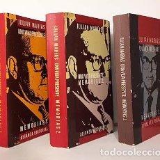 Libros de segunda mano: JULIÁN MARÍAS : UNA VIDA PRESENTE. MEMORIAS I (1914-1951) II (1951-1975) Y III (1975-1983). COMPLETO. Lote 142318950