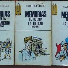 Libros de segunda mano: CHARLES DE GAULLE MEMORIAS DE GUERRA. Lote 144556546