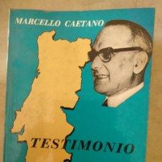 Libros de segunda mano: TESTIMONIO.MARCELLO CAETANO.PARANINFO. Lote 166443098