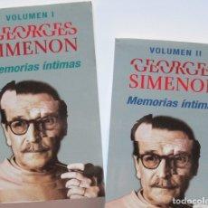 Livros em segunda mão: GEORGES SIMENON. MEMORIAS ÍNTIMAS. DOS VOLÚMENES. EDICIONES B 2000. Lote 176319979