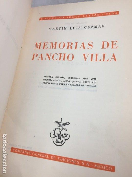 Libros de segunda mano: Memorias De Pancho Villa - Martín Luis Guzman 1954 - Foto 3 - 178980655
