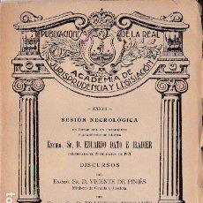 Libros de segunda mano: SESIÓN NECROLÓGICA EN HONOR A D. EDUARDO DATO E IRADIER - 1921. Lote 180237461