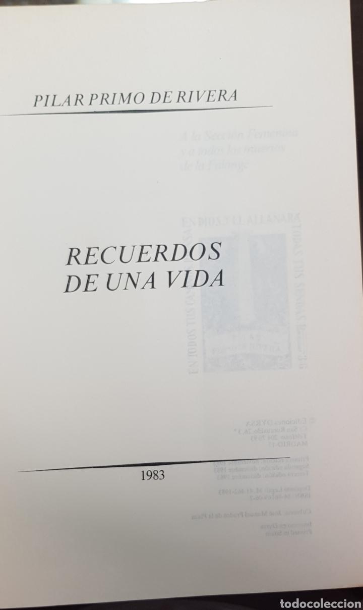 Libros de segunda mano: Pilar Primo de Rivera. Recuerdos de una vida. Dedicatoria - Foto 2 - 182299597