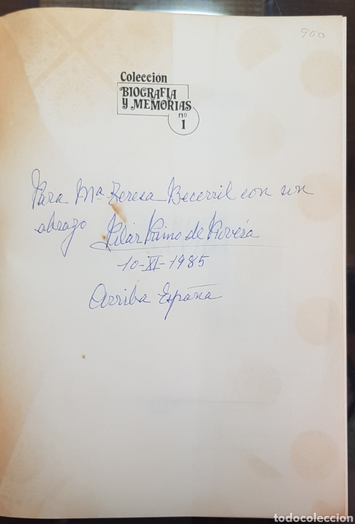 Libros de segunda mano: Pilar Primo de Rivera. Recuerdos de una vida. Dedicatoria - Foto 3 - 182299597