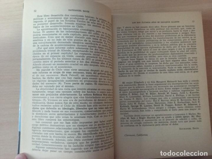 Libros de segunda mano: LOS DOS ÚLTIMOS AÑOS DE SALVADOR ALLENDE - NATHANIEL DAVIS (BIOGRAFÍAS Y MEMORIAS) - Foto 5 - 189473236