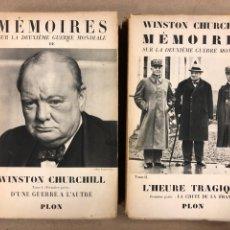 Libros de segunda mano: WINSTON CHURCHILL MÉMOIRES SUR LA DEUXIÈME GUERRE MONDIALE. 2 TOMOS. LIBRAIRE PLON 1943. Lote 190336252