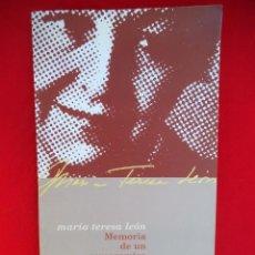Libros de segunda mano: LEON, MARIA TERESA . MEMORIA DE UN COMPROMISO.. Lote 192909676