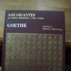 Libros de segunda mano: LOS GIGANTES, GOETHE. L.21106. Lote 194392857