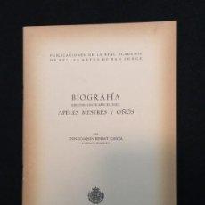 Libros de segunda mano: J. RENART GARCÍA. BIOGRAFÍA DEL DIBUJANTE BARCELONÉS APELES MESTRES Y OÑÓS. BARCELONA, 1955.. Lote 194668955