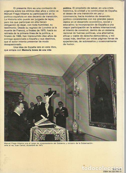 Libros de segunda mano: Manuel Fraga-En busca del tiempo servido.Espejo de España,134.Planeta.1987. - Foto 2 - 195043741