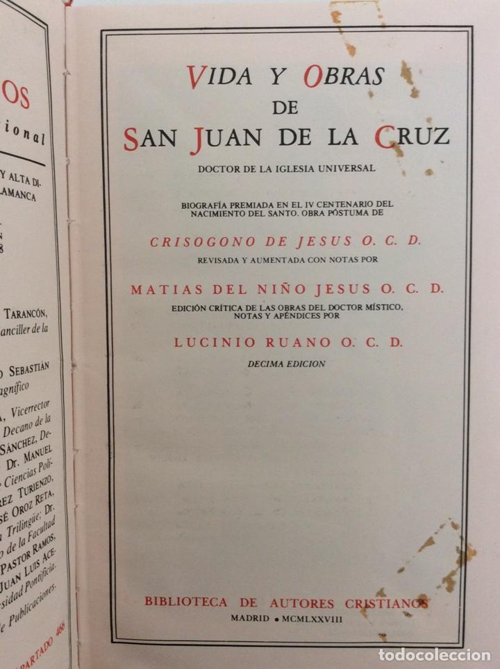 Libros de segunda mano: VIDA Y OBRAS DE SAN JUAN DE LA CRUZ. CRISOGONO DE JESUS. BIBLIOTECA DE AUTORES CRISTIANOS BAC. 1978 - Foto 3 - 195340368