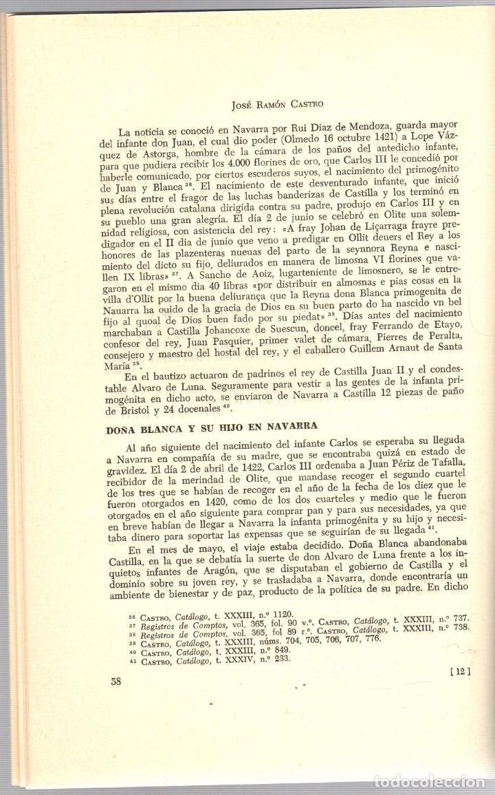 Libros de segunda mano: BLANCA DE NAVARRA Y JUAN DE ARAGON. JOSE RAMON CASTRO. PAMPLONA, 1966 - Foto 3 - 195384483